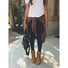 Tieing a flannel around your waist actually can be cute!! Leggings or dark jeans, boots (regular or combat) purse and white tee then tie the flannel around you waist!