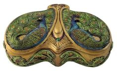 PEACOCK~  Vintage Art Nouveau-styled Viennese double-peacock box.
