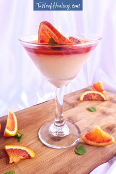 A silky smooth panna cotta dessert with blood oranges, from the 'Fall into Citrus' three course menu, Paleo Dessert, Dessert Recipes, Blood Orange Juice, Great Desserts, Fun Cooking, Grain Free, Panna Cotta, Sweet Treats, Menu