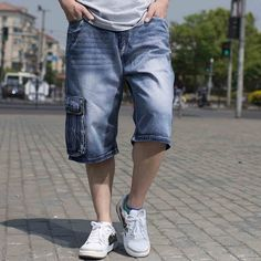(39.44$)  Watch more here - http://ai07n.worlditems.win/all/product.php?id=32781708504 - Plus Size Men Cotton Hip Hop Jean Shorts Knee Length Mens Jeans Shorts Male Basketball Skateboard Denim Shorts Big Size 42 44 46