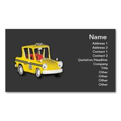 Taxi Business Card Template. I love this design! It is available for customization or ready to buy as is. All you need is to add your business info to this template then place the order. It will ship within 24 hours. Just click the image to make your own!