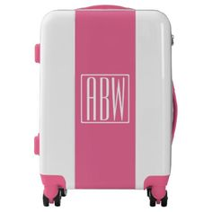 #Initials Monogram | White On Pink Luggage - custom #luggage #suitcase #suitcases #bags #trunk #trunks Pink Luggage, Custom Luggage, Luggage Suitcase, Carry On Luggage, Monogram Gifts, Monogram Initials, Unique Presents, Unique Gifts, Monogram Styles