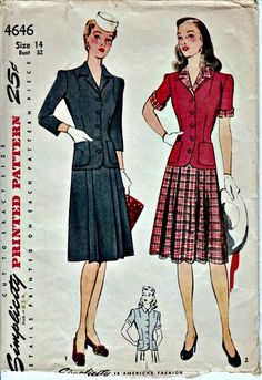 1940s Two Piece Dress Pattern with Pleated by ShellMakeYouFlip