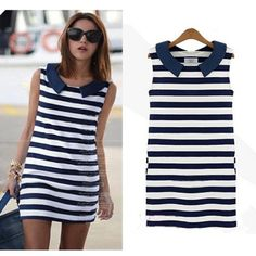3898d218120d Find More Dresses Information about New Women Lady Korean Fashion Denim  Collar Sleeveless Casual Slim Striped