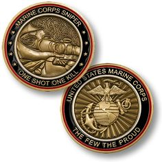 Marine Corps Sniper Coin - One Shot, One Coin Mil-Mall.com