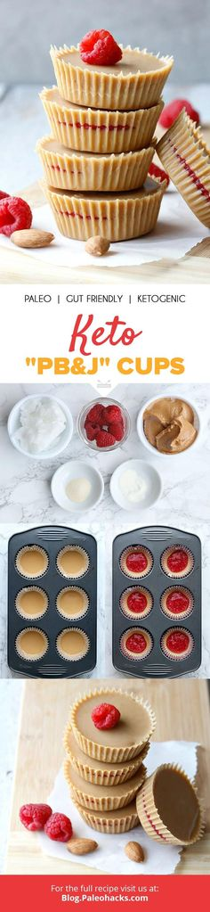"""Filled with real raspberries and creamy almond butter, these keto """"PB&J"""" cups are a healthy, guilt-free treat! Get the full recipe here: http://paleo.co/ketopbjcups"""