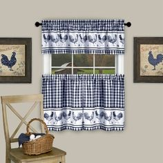 Add a touch of charm to your kitchen with the Achim Barnyard Kitchen Window Curtain Tier Pair and Valance. Decked out in roosters and gingham plaid, the homey curtains are the perfect finishing touch to your cottage-inspired décor. Valance Curtains, Rooster Kitchen, Curtains, Sweet Home Collection, Kitchen Curtain Sets, Window Curtains, Kitchen Window Curtains, Home Decor, Kitchen Window