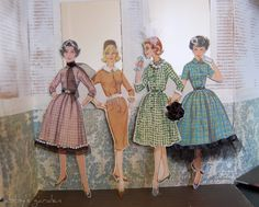 Vintage Sewing Patterns paper dolls from vintage pattern envelopes Vintage Paper Dolls, Vintage Crafts, Sewing Crafts, Sewing Projects, Couture Vintage, Vintage Fashion, Fru Fru, Moda Vintage, Up Girl