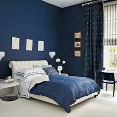Dark Blue Bedroom With White Furniture I want this in my room, I'm sleepy already!