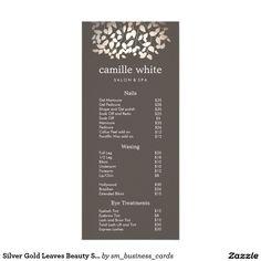 Silver Gold Leaves Beauty Salon Price List Menu Custom Rack Cards