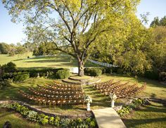 """""""There's more than one way to design a ceremony setup. If you have the option, consider keeping everyone together in a nontraditional seating arrangement, like a circle around the altar.""""    Photo: Paul Morse Photography   Via TheKnot"""