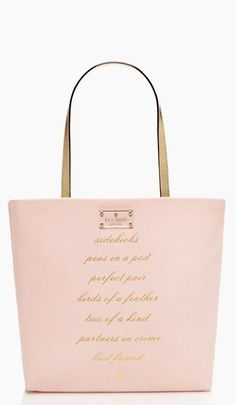 Bridesmsaid tote: 'sidekicks, peas in a pod, perfect pair, birds of a feather, two of a kind, partners in crime, best friend' #katespade http://www.theperfectpaletteshop.com/#!bridesmaid-gifts/c1q5k