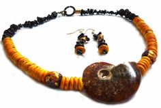 Mama Africa – Necklace with FREE Earrings / Yellow dyed Howlite, Ammonite, Mocca Bamboo, Raku Beads Gold Brown, Lava https://www.zibbet.com/earthlifeshop/mama-africa-necklace-with-free-earrings-yellow-dyed-howlite-ammonite-mocca-bamboo-raku-beads-gold-brown-lava Product URL: https://www.zibbet.com/earthlifeshop/mama-africa-necklace-with-free-earrings-yellow-dyed-howlite-ammonite-mocca-bamboo-raku-beads-gold-brown-lava