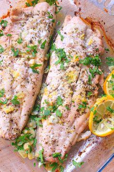 Lemon Recipes, Fish Recipes, Baby Food Recipes, Seafood Recipes, Cooking Recipes, Butter Fish Recipe, Good Food, Yummy Food, Baked Fish