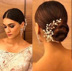 bun hairstyle with saree for short hair Simple Hairstyle For Saree, Indian Hairstyles For Saree, Lehenga Hairstyles, Ethnic Hairstyles, Easy Bun Hairstyles, Cute Simple Hairstyles, Indian Wedding Hairstyles, Trendy Hairstyles, Hairstyles For Weddings