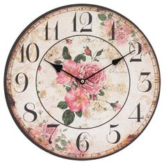 Home Decoration Vintage Style Shabby Chic MDF Rose Scene Vintage Style Wall Clock with Decorative Hands by Obique Ltd, http://www.amazon.co.uk/dp/B00I3IKABK/ref=cm_sw_r_pi_dp_pbWitb1QRBXKP