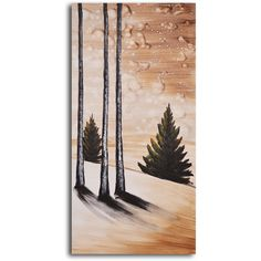 My Art Outlet Hand-painted 'Fir Tree on Snow' Oil Painting