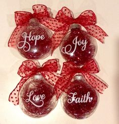 Christmas Glass ornaments decorated with vinyl cut with my silhouette cameo.