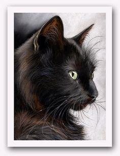 Black Cat Pastel Painting