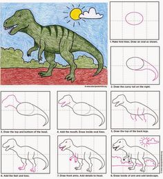 T is for t-rex.Art Projects for Kids: Draw a T-Rex. Drawing Lessons, Art Lessons, Dinosaur Art Projects, Projects For Kids, Drawing For Kids, Art For Kids, Desenhos Van Gogh, Arte Elemental, Dinosaur Drawing