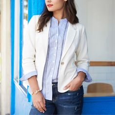 Basic doesn't have to be boring. Get the look with a cream blazer, peek-a-boo cuff & a berry bold lip. #StylistTip