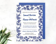 Wedding Invitation  Vintage Flower Template  by WednesdayDesigns