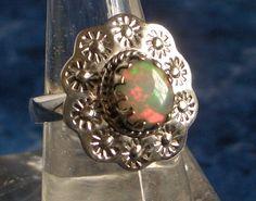 Sz 8 (Q), Genuine Flashy FIRE OPAL Oval Gemstone, 925 Solid Sterling Silver, Hand-made Flower Ring Jewellery! by AmeogemJewellery on Etsy