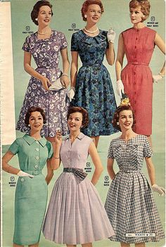 montgomery ward summer 1959 catalog by CapricornOneVintage, via Flickr vintage fashion style color photo print ad models magazine catalogue.  Floral fit flare sheath pink red green purple blue black white checks solid 50s 60s