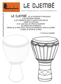 coloriage djembe Plus African Crafts, African Art, Pencil Crossbow, Instrument De Percussion, Djembe Drum, Geography For Kids, Teaching Music, Black History, Diy For Kids