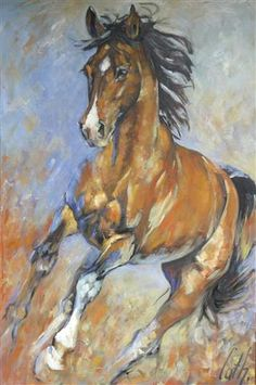"""HORSES Oil painting by Cath Driessen """"Stops"""" 80 x 120 http://www.cathdriessen.nl/"""
