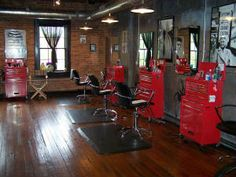 How cute! This is my future salon. Craftsmen tool boxes for all your supplies. Lol