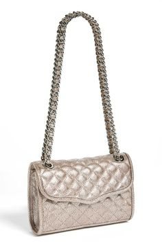 Silver, metallic quilted Rebecca Minkoff Crossbody Bag