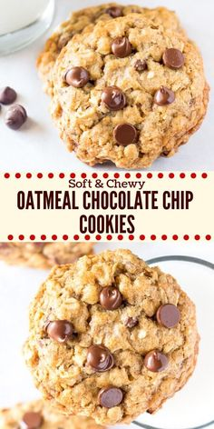 These soft and chewy oatmeal chocolate chip cookies are made with brown sugar old fashioned oats chopped walnuts & lots of chocolate chips for the perfect bakery-style cookie. Youll love how easy they are to make - Chewy Candy - Ideas of Chewy Candy Just Desserts, Delicious Desserts, Dessert Recipes, Yummy Food, Tasty, Desserts With Oats, Oatmeal Chocolate Chip Cookie Recipe, Chocolate Cookies, Chewy Oatmeal Cookies