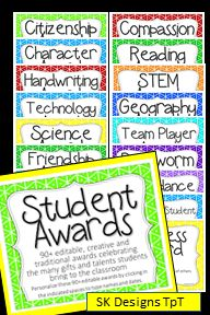 90+ Awards and Certificates  - both traditional and creative awards to recognize the variety of gifts students bring to the classroom. SK Designs Teachers Pay Teachers