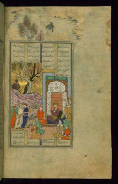Faridun Enthroned -  Shahama (Walters manuscript) Firdawsi (Persian, died 411-416 AH/AD 1020-1025) (Author) Muhammad Mirak ibn Mir Muhammad al-Husayni al-Ustadi (Scribe) Herat (?), 1028 AH/AD 1618-1619 ink and pigments on laid paper ACCESSION NUMBER W.602.26B MEASUREMENTS H: 14 3/8 x W: 9 1/4 in. (36.5 x 23.5 cm) The Walters Museum