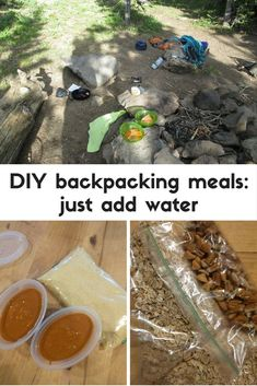 Just add boiling water to cook these DIY backpacking meals made with common pantry ingredients. Get recipes for couscous with peanut sauce and sweet & smoky camp oatmeal. Kayak Camping, Camping And Hiking, Camping Life, Camping Meals, Outdoor Camping, Camping Hammock, Camping Recipes, Outdoor Gear, Camping Kitchen