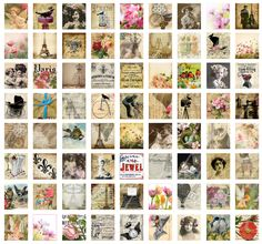 72 scrabble sized images, digital collage sheet for paper crafts