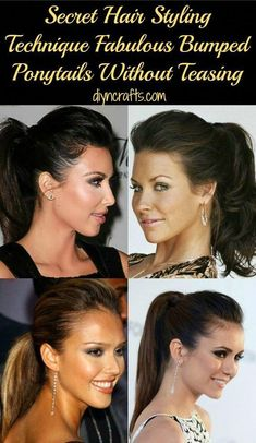 Actually, you can create a fabulous bumped ponytail without a bump-it or without teasing. And, you can do it in about three minutes. This is a great method for those of you who like the Ponytail Bump, Teased Ponytail, Ponytail Hairstyles, Hairstyles Haircuts, Down Hairstyles, Bump Hair, Men's Hairstyle, Prom Hair Updo, Hair Dos