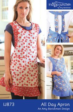 The All Day Apron Pattern from Indygo Junction is a flattering apron design made using two contrasting fabrics. Apron features include a flirty ruffled hem, bias trimmed neckline, and patch pocket. So comfortable, you'll want to wear this apron All Day! Sewing Hacks, Sewing Crafts, Sewing Projects, Sewing Ideas, Retro Apron, Aprons Vintage, Sewing Aprons, Sewing Clothes, Sewing Rooms
