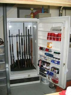 9 Unusual Hidden Gun Safes To Keep Your Firearms Secure repurposed frige to gun, ammo storage. Just make sure to add bolt lock on it. 9 Unusual Hidden Gun Safes To Keep Your Firearms Secure repurposed frige t Hidden Gun Safe, Gun Safe Diy, Old Refrigerator, Gun Rooms, By Any Means Necessary, Hidden Storage, Secret Gun Storage, Safe Storage, Weapon Storage