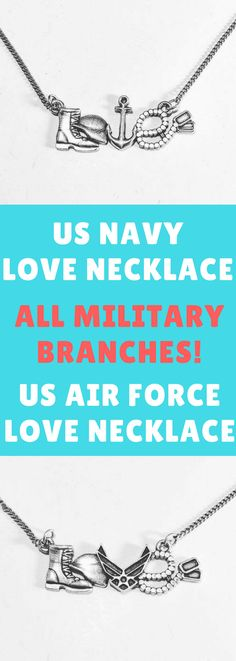US Military Love Necklace - All Military Branches Available