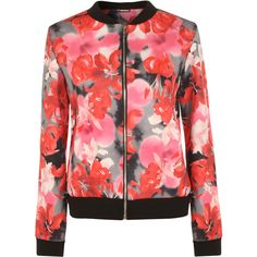 Danielle Floral Bomber Jacket ($26) ❤ liked on Polyvore featuring outerwear, jackets, multi, long sleeve jacket, red zipper jacket, red bomber jacket, flower print jacket and red jacket
