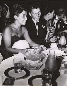 Historic Photograph of Frank Sinatra And His Wife, Nancy, Admire His Oscar At Ciro's Nightclub In West Hollywood