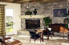 corner stone fireplace | Corner stone fireplace and stone wall | House