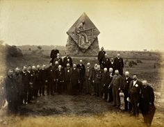 1st Massachusetts veterans at their Gettysburg monument on Emmitsburg Road, photographed by William Tipton, probably on July 2, 1886, the day the monument was dedicated