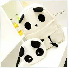 mini Mochila feminina - Women's style: Patterns of sustainability Panda Love, Cute Panda, Panda Bear, Canvas Backpack, Backpack Bags, Puppy Backpack, White Backpack, Backpack Online, Hiking Backpack
