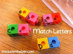 The Autism Helper - Unifix Cube Tasks workstation task: I made some matching lowercase to uppercase sets and also some general matching letters. This task works on discrimination, letter recognition, and fine motor skills! We already have some sets that work on building words, putting the alphabet in order, and building students' names.