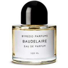 2009 Baudelaire di Byredo è una fragranza del gruppo Cuoio da uomo. Le note di testa sono Carvi, Bacche di Ginepro e Pepe; le note di cuore sono Giacinto, Incenso e Cuoio; le note di base sono Patchouli, Ambra e Papiro
