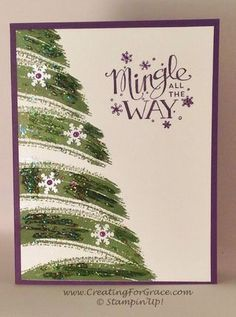 stampin up card ideas - Christmas Tree made with swoosh stamp, glitter and snowflakes punches.