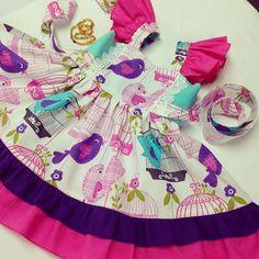 Bird Cage Dress, Girls Birthday Dress, baby Easter dress, Flutter sleeve dress.